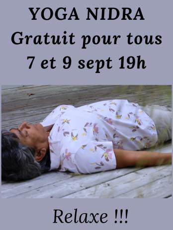 Séance de Yoga Nidra gratuite 7 et 9 sept 2021